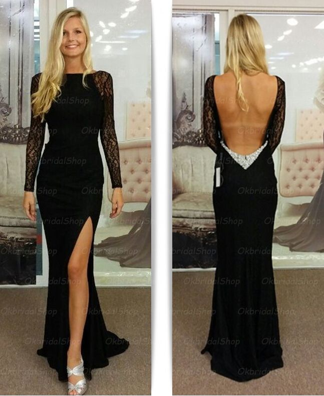 long sleeve lace prom dresses, mermaid prom dresses, 2015 prom dresses, black…