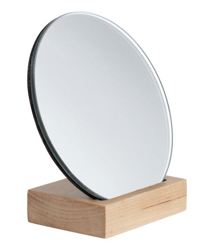 sieh s dir an kleiner runder spiegel mit r ckseite und fu aus holz durchmesser des spiegels. Black Bedroom Furniture Sets. Home Design Ideas
