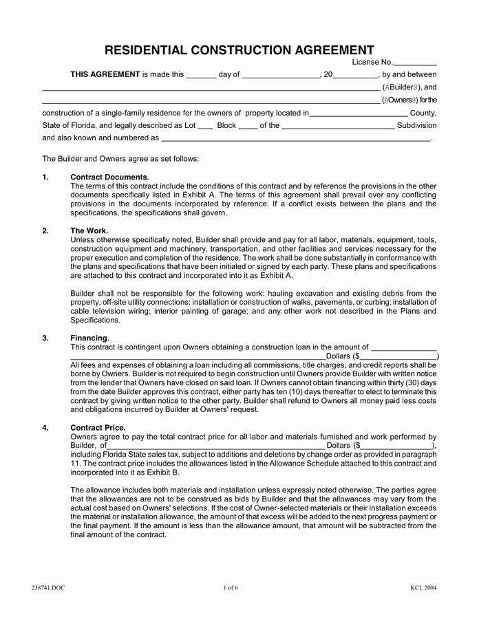 Home Construction Contract Template Best Of Residential Construction Agreement In Word And Pdf Format Construction Contract Roofing Contract Contract Agreement
