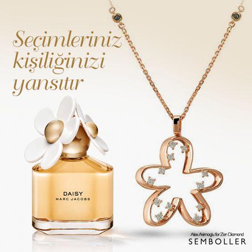 Zen Pırlanta; Alex Hekimoğlu Semboller serisi #pirlanta #diamond #necklace #gold #kolye #flowers with Marc Jacobs #Daisy