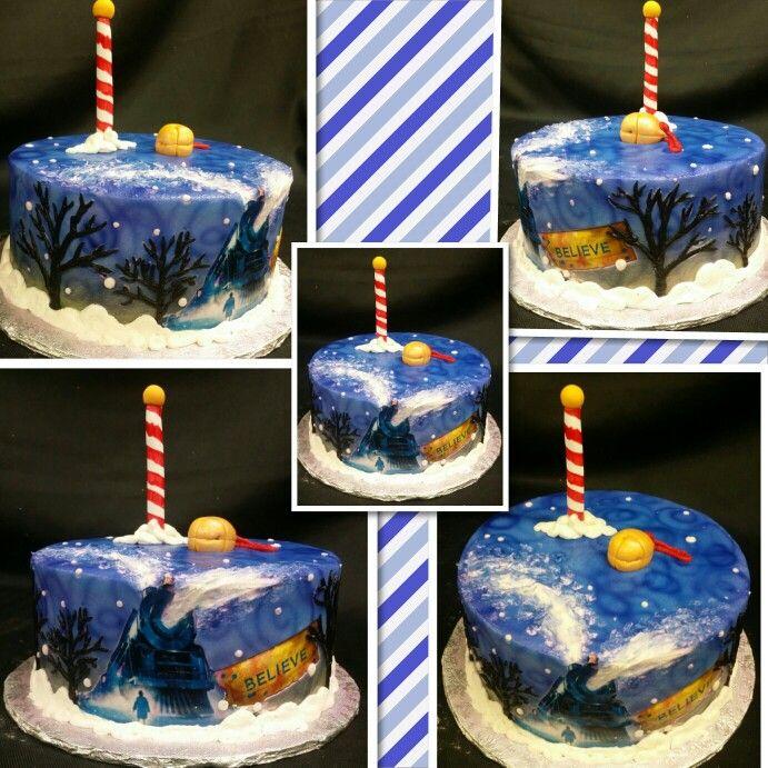 sweetartscreations buttercream polar express cake with