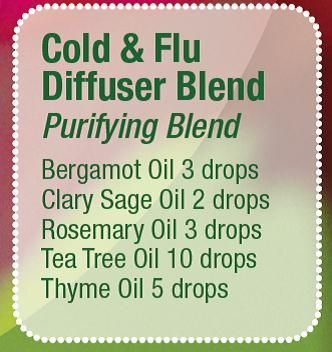 Cold & Flu Diffuser Blend. (Tea tree oil is melaleuca) These oils can be purchased at www.mydoterra.com/kellyjanice