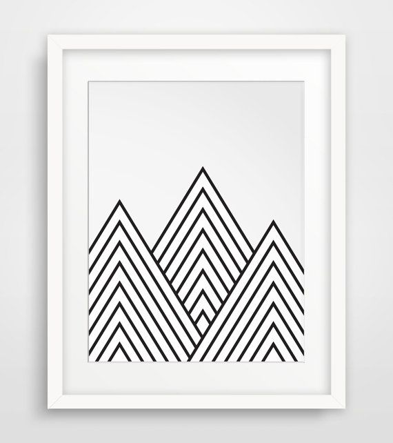 Mountains Geometric Mountain Printable Art by MelindaWoodDesigns