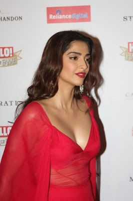 High Quality Bollywood Celebrity Pictures: Sonam Kapoor Sexiest Cleavage Show Ever At The Hello Hall of Fame Awards 2016