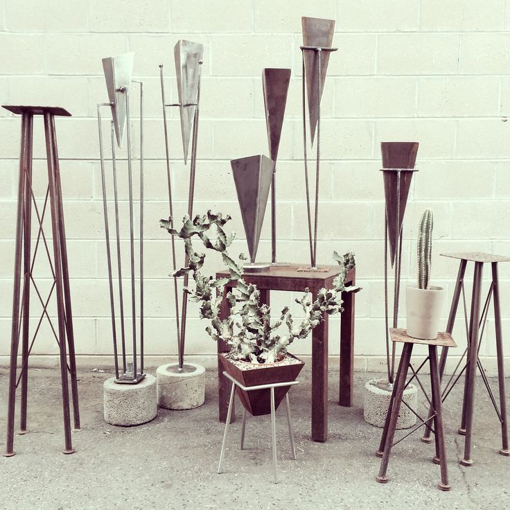 Industrial Luxury's hand made steel and concrete pot & sculpture stands. Can be used outdoors or indoors. Perfect for droughtscaping.