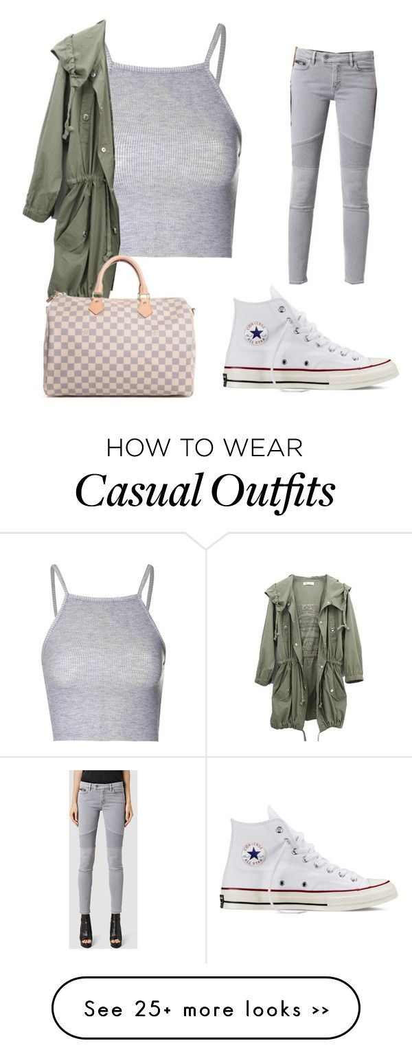 Casual by xmiajohn on Polyvore featuring Glamorous, AllSaints, Converse and Louis Vuitton