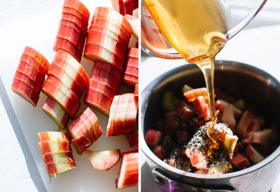 Rhubarb chia seed jam......chopped rhubarb and honey