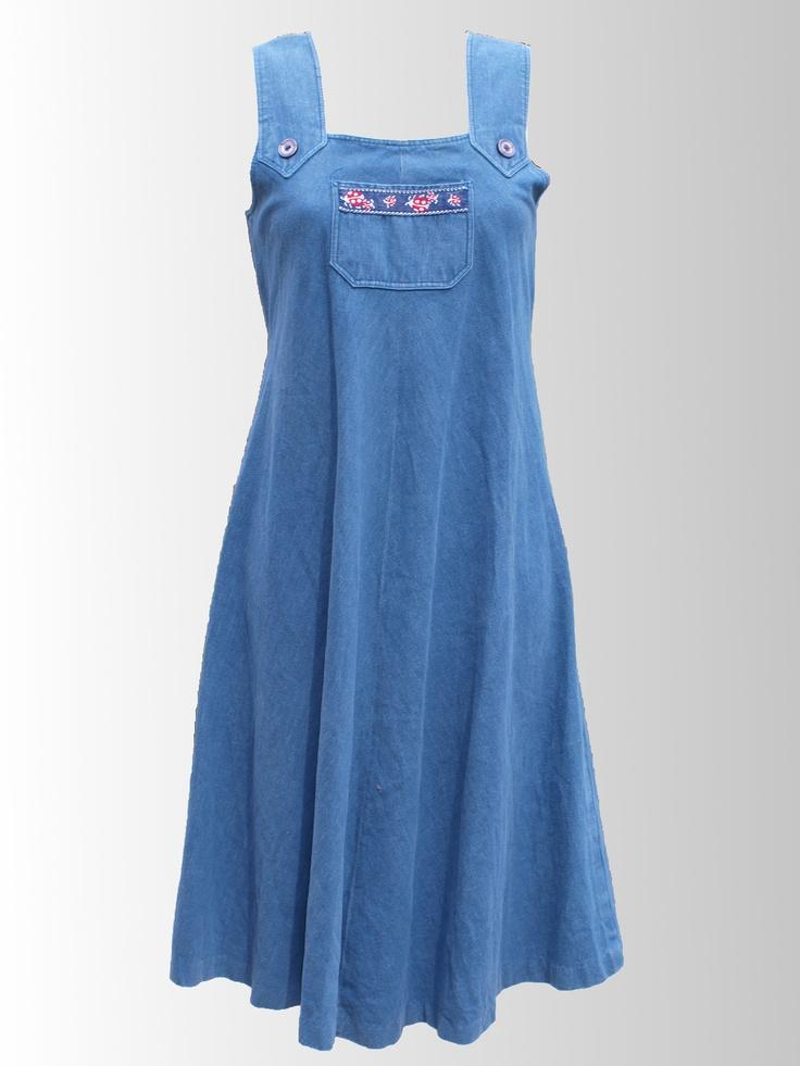 1980s Denim Ladybird Print Dress from www.sixesamdsevensvintage.com at £18.00.  Size 12.