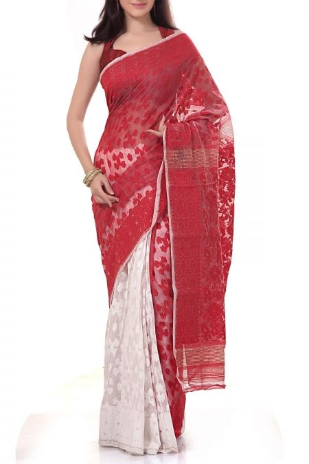 Red & White Dhakai Cotton Jamdani Saree