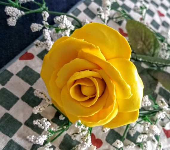 hand sculpted polymer clay yellow rose handmade by BloominClay