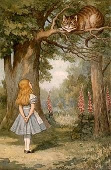 Re-pinned because it has the Cheshire Cat on it.. from the original Tenniel illustrations (I hope)
