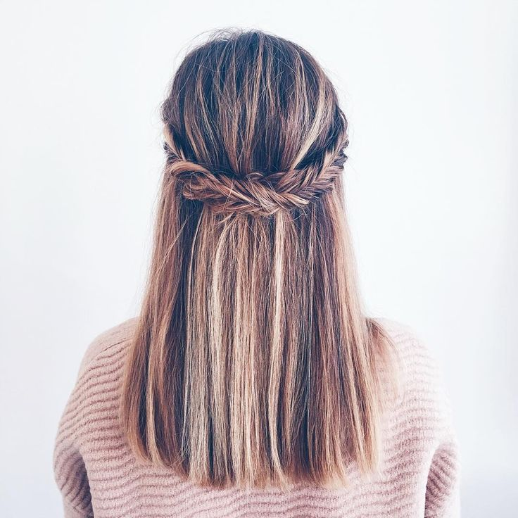 Fishtail half up half down hair balayage Prosecco and Plaid