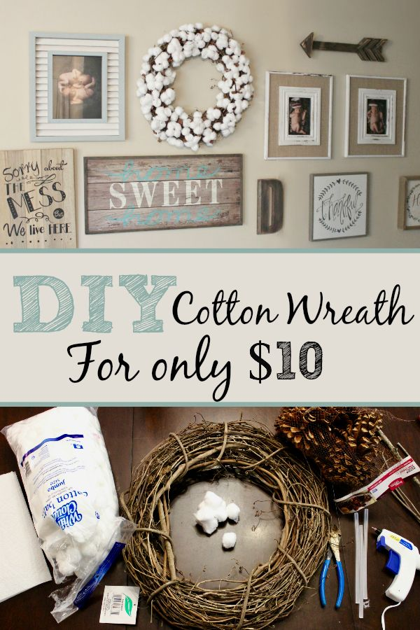 Y'all, Check out this super cute and easy cotton wreath we made today. You only need 4 things and $10 to make this cotton wreath. It fits perfectly on this accent wall.