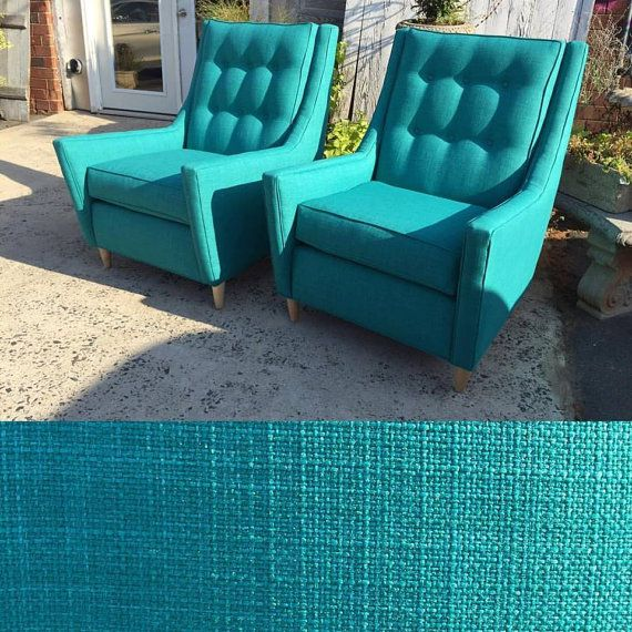 Atomic Teal Mid-Century Modern Chairs with Natural Maple Legs from Design 59 inc