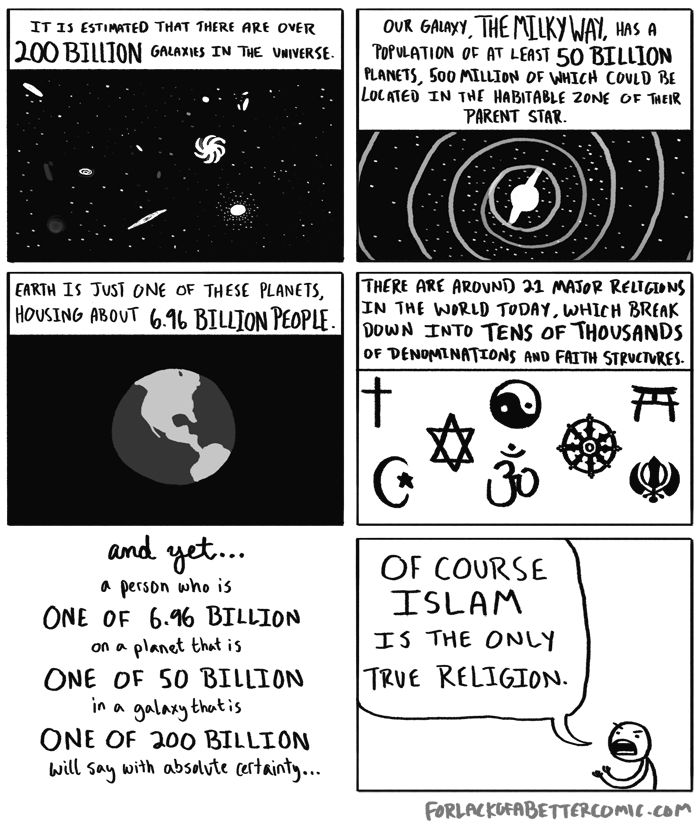 """Atheism, Religion, God is Imaginary. ...There are around 21 major religions in the world today, which break down into tens of thousands of denominations and faith structures. And yet... a person who is 1 of 6.96 billion on a planet that is 1 of 50 billion in a galaxy that is 1 of 200 billion will say with absolute certainty... """"Of course (insert religion here) is the only true religion."""""""