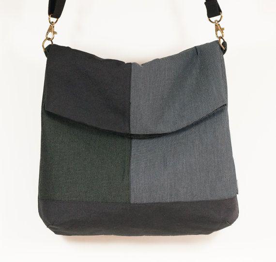 Foldover Crossbody Bag. Grey handbag. Shoulder bag. Fabric bag purse. Crossbody Handbag.