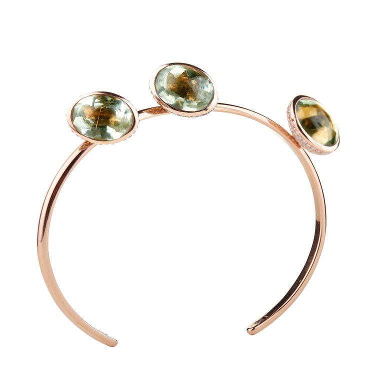 18K pink gold bracelet with green cabochon-cut Amethysts & green, blue & white Diamonds www.lito-jewelry.com