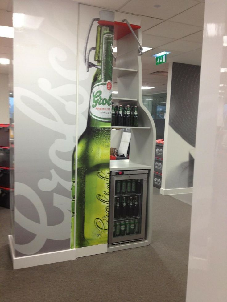 Latex printed vinyl graphics with a gloss overlaminate were used by The Printed Film Company for these beer-themed fridges.