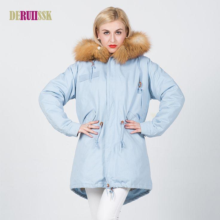Plus Size Fox Fur Coat Jacket Parker Coat 2017 Women With Large Fox Fur Trim Hood Thick Fur Coats Women Winter Jacket Coat #Affiliate