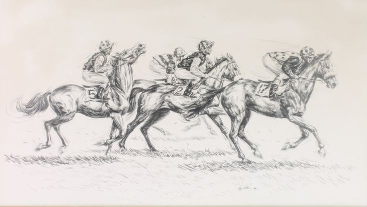 """Lot 432, Roy Miller '78, signed, pencil drawing, """"Down to the Start"""" study of race horses 15"""" x 27"""" est £50-75"""