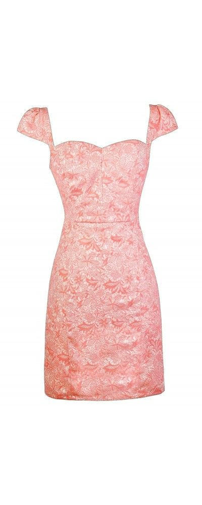 Lily Boutique Bright For You Textured Capsleeve Pencil Dress in Coral Pink, .lilyboutique.com