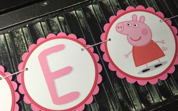 Peppa Pig High Chair Banner-High Chair by thepolkadotposy on Etsy
