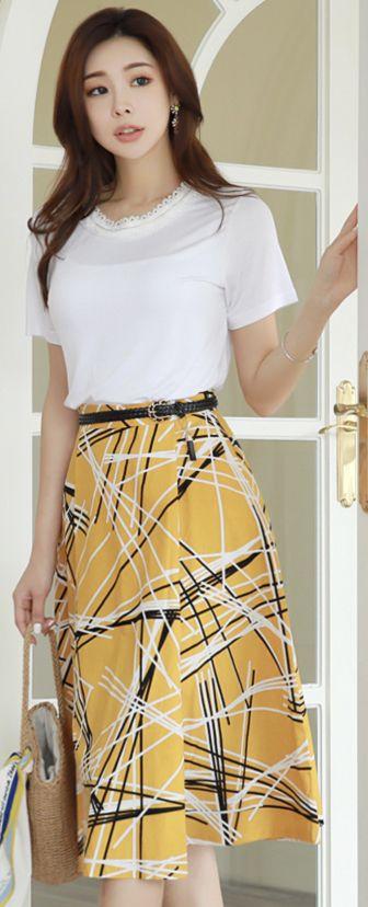 StyleOnme_Abstract Lines Print Linen Flared Skirt #yellow #patterned #skirt #linen #feminine #koreanfashion #kstyle #kfashion #springtrend #dailylook