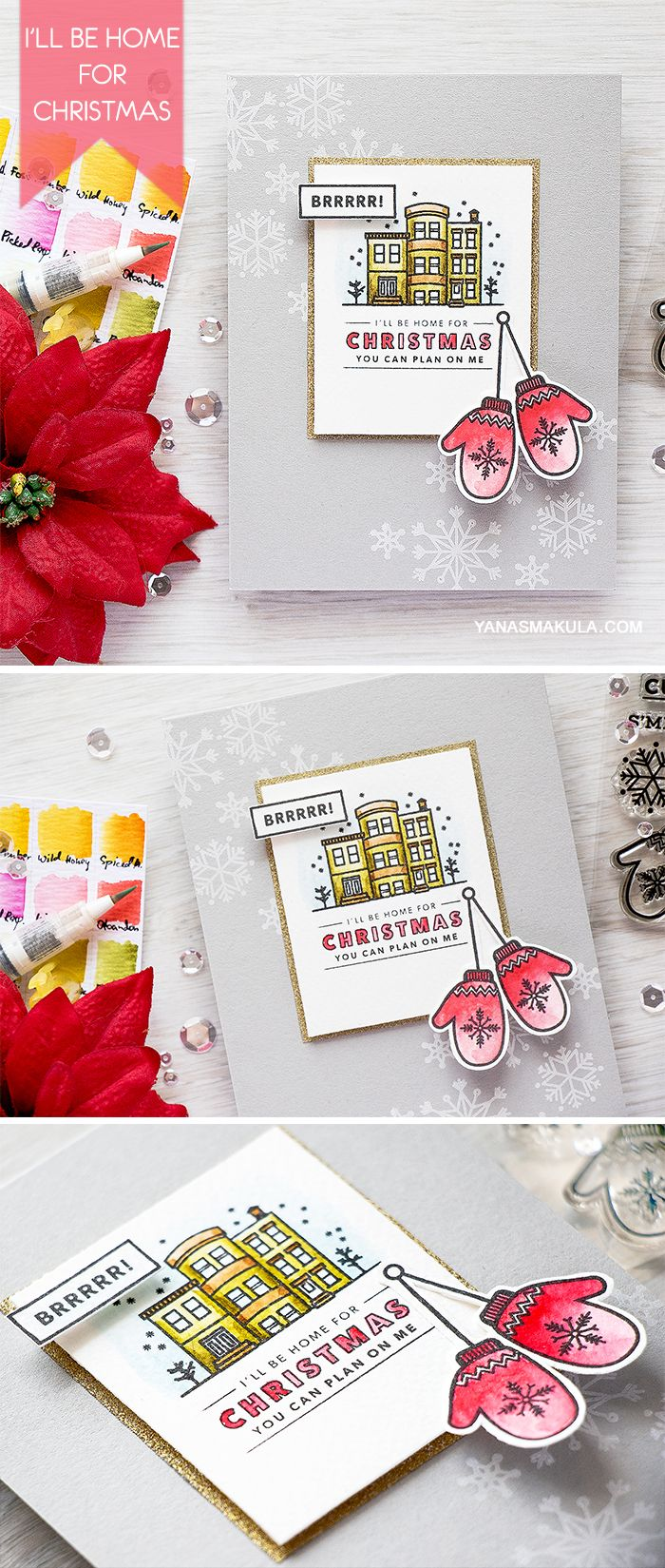 I'll be Home for Christmas, you can plan on me! Create this card using stamps and inks from Hero Arts Holiday 2016 Release - using Kelly's It's Christmas Time, Kelly's S'mitten Stamp & Cut and  Kelly's Warm & Cozy. For details, visit http://www.yanasmakula.com/?p=54570