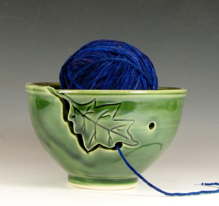 Yarn bowl knitting crochet, oak leaf ceramic, glazed in green, handmade porcelain by hughes pottery. $40.00, via Etsy.