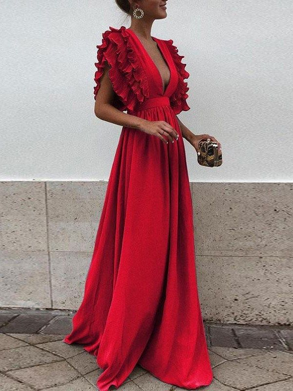 Red Pleated Ruffle Deep V-neck Evening Party Prom Cute Elegant Maxi Dress