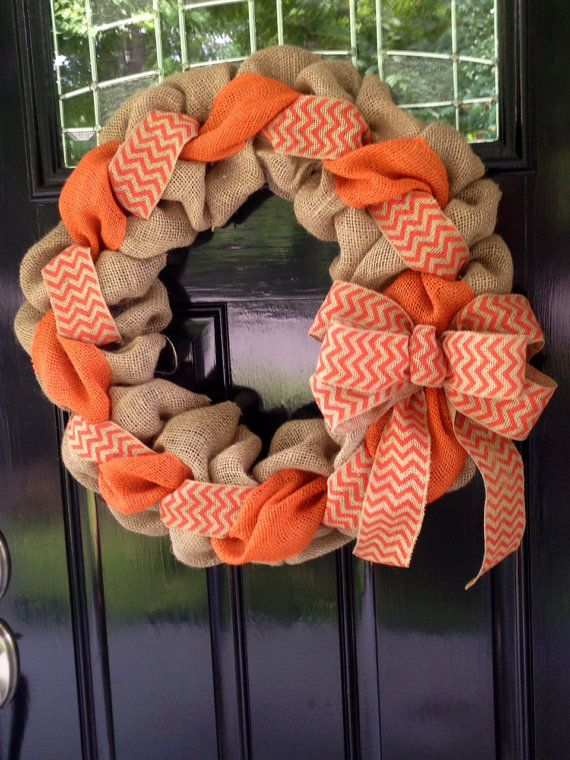 Orange and Natural Chevron Burlap Wreath 22 inch for front door or accent - Fall, Tennessee www.etsy.com/shop/simplyblessedgift