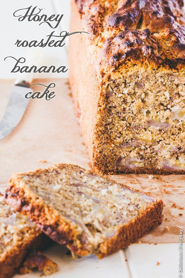 This moist, delicious and dairy free banana bread with honey roasted bananas is what you need to make whenever you have an excess of bananas. | DeliciousEveryday.com