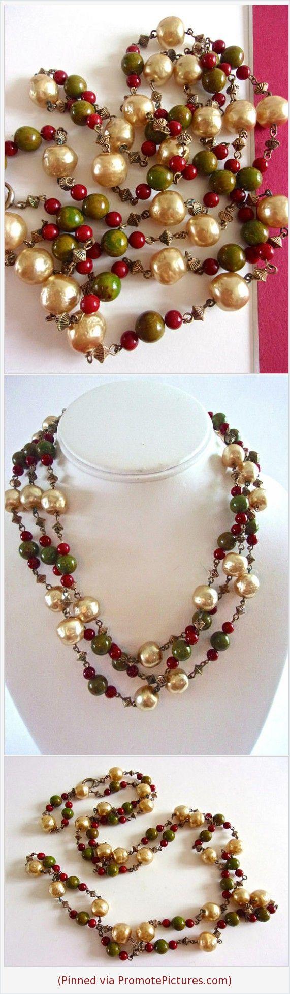 Red Green Bakelite & Faux Baroque Pearl Necklace, Brass Spacers, 56 inch Long, Vintage #necklace #bakelite #glasspearls #red #green #brass #long #vintage #baroquepearls #beads #flapper https://www.etsy.com/RenaissanceFair/listing/582596174/red-green-bakelite-faux-baroque-pearl?ref=listings_manager_grid  (Pinned using https://PromotePictures.com)