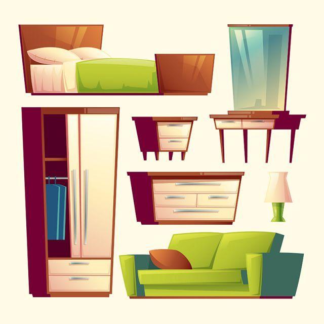 Vector Bedroom Living Room Interior Cartoon Object In 2020 Room