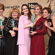 Raquel Cassidy, Joanne Froggatt, Phyllis Logan, Lesley Nicol and Sophie McShera