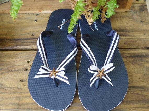Navy Blue Flips Flops, Marine or Nautical Sandals