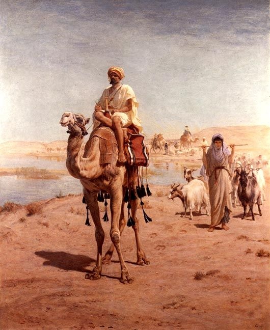 """Frederick Goodall (1822-1904) - Moving to Fresh Pastures. Oil on Canvas. Circa 1880. 61"""" x 49""""."""