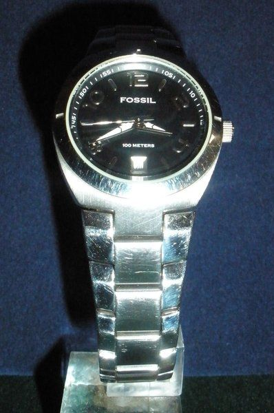 Women's Fossil AM-4142 All SS Quartz Watch ~ Domestic Shipping $2.50 | Metcalf Music & Time Specializing in watch repair & restoration