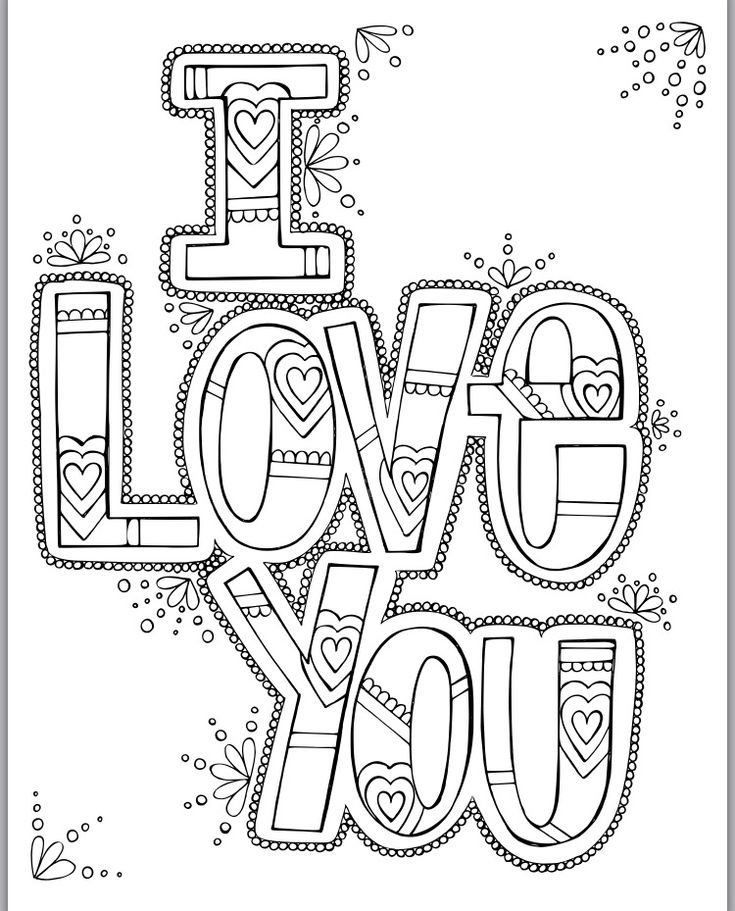 I Love You Coloring Pages Pdf : I love you coloring print handwriting pdf and printing
