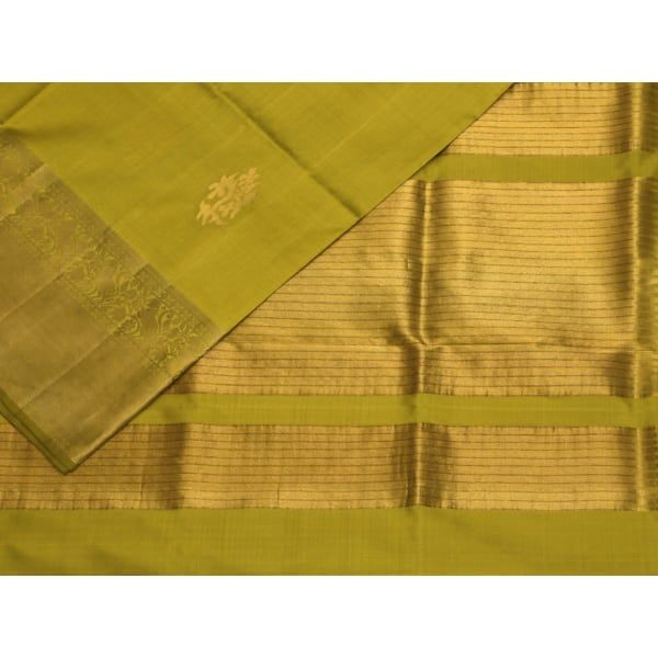 Light Green Kanchipuram Silk Handloom Saree with Nilambari Buta Design k0200
