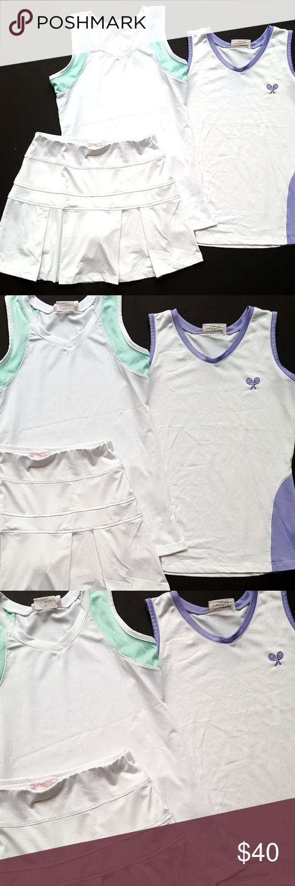 Little Miss Tennis Girls Top Skirt Lot White/Lilac Little Miss Tennis Girls Top Skirt Lot White/Lilac/Mint   Size L (10-12)  EUC  My items come from a smoke-free household, we do have a kitty, so an occasional hair may occur! Little Miss Tennis Matching Sets