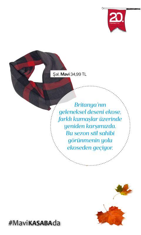 @allmagazine sezonun en moda desenlerinden ekoseyi öneriyor.. Rüzgarlı günlerin kurtarıcısı MAVİ etiketli şal, Kasaba vitrinlerindeki yerini alıyor.. #sonbahar #moda #stil