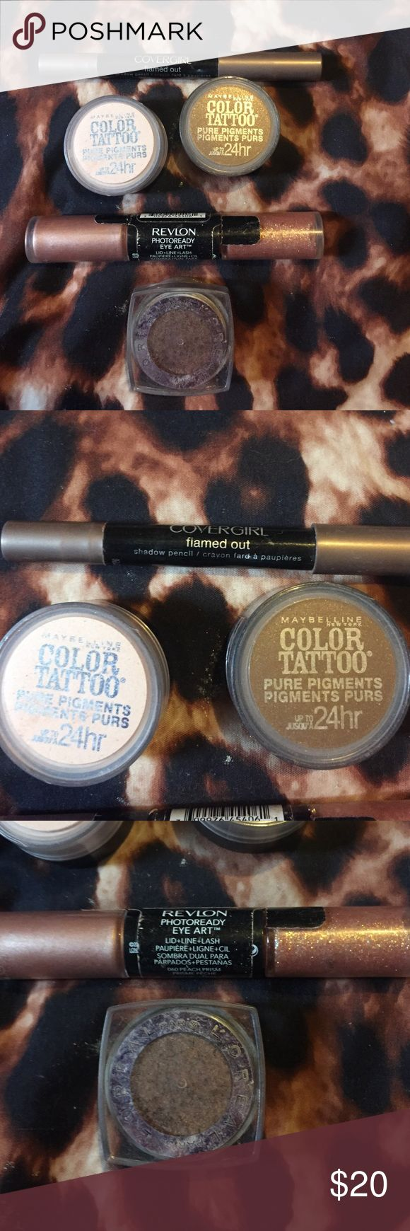 Eyeshadow bundle Eyeshadow bundle includes 2 Maybelline color tattoo pure pigment eyeshadow last up to 24hrs colors BARELY BRAZEN & DOWNTOWN BROWN , Cover girl flamed out eyeshadow pencil, revlon Photo ready eye art  lid, line, and lash, L'Oreal eyeshadow palette color iced latte Makeup Eyeshadow