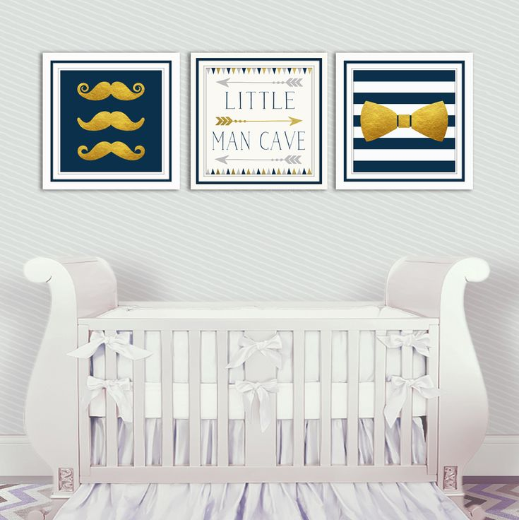 For your Little gentleman the Mustache and BowTie Nursery3 piece Set.