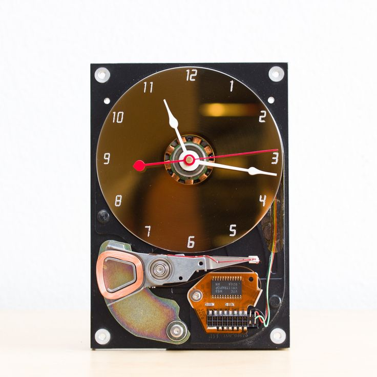 Desk clock - recycled Computer hard drive clock - HDD clock - gift for dad - unique gift for him - c7149 by ReComputing on Etsy https://www.etsy.com/listing/270904177/desk-clock-recycled-computer-hard-drive