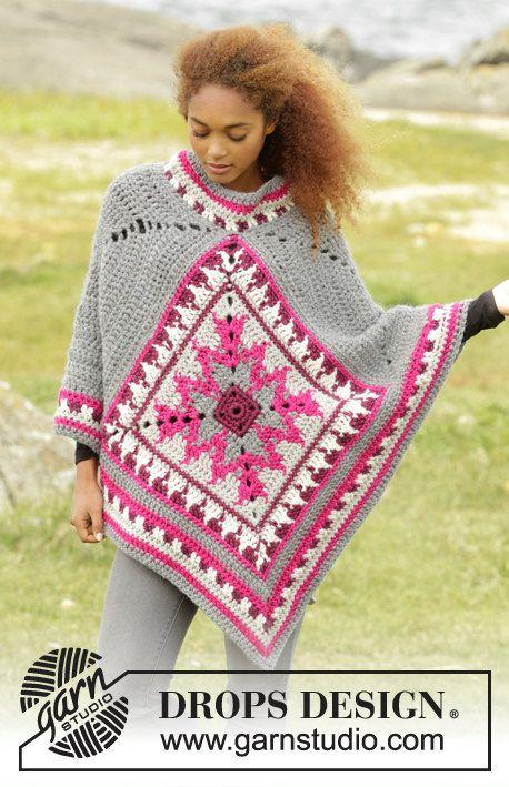 Pura lana poncho, poncho, crochet, invierno del cabo de lana, largo, hecho a mano. de LaBottegaDiChicco en Etsy https://www.etsy.com/es/listing/457930510/pura-lana-poncho-poncho-crochet-invierno
