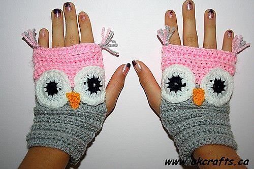 Fingerless Owl Mittens FREE CROCHET pattern by Andrea Kefeder