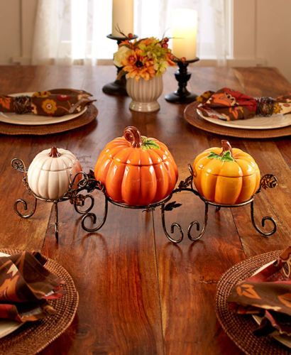 3 Pc Ceramic Pumpkin Centerpiece Set Treat Bowls
