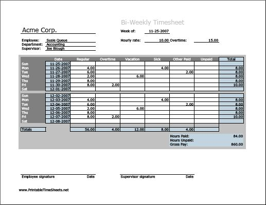 biweekly timesheet  horizontal orientation  work hours entered directly  printable time sheets