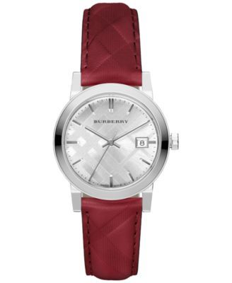 Burberry Women's Swiss The Classic Round Red Check-Embossed Leather Strap Watch 34mm BU9152